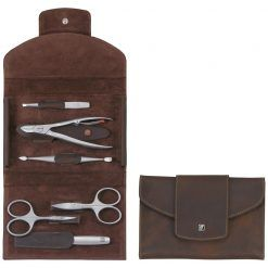 Zwilling 97408-007 Snap fastener manicure case, neat's leather, brown, 6 pcs.