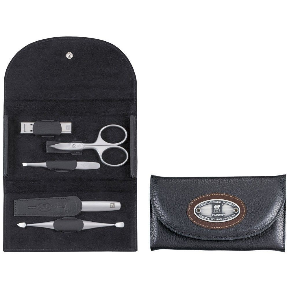 Zwilling 97404-004 Snap fastener manicure case, neat's leather, black, 5 pcs.
