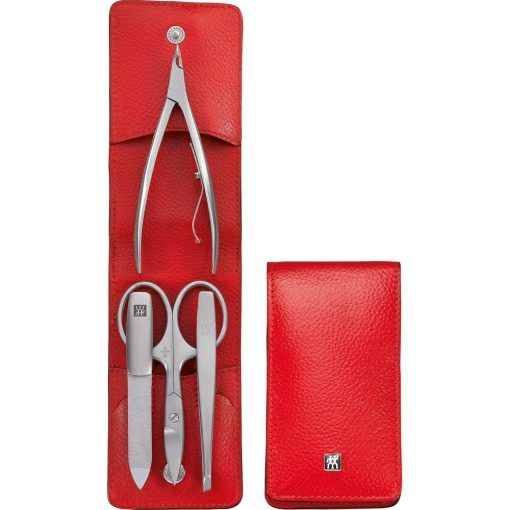 Zwilling 97267-002 Manicure Pocket case, neat's leather, red, 4 pcs.