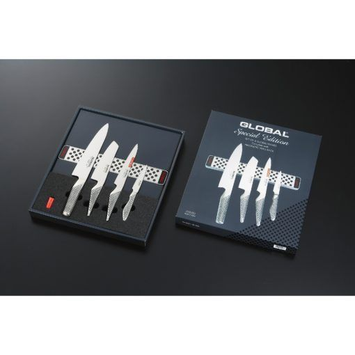 Global G-251138/M30 Knife set, 4 pcs. (G-2, GS-5, GS-11, GS-38) and magnetic bar, 31 cm