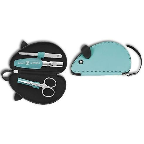 Zwilling 97482-000 Zip fastener manicure case, 3 pcs, turquoise, mouse shape