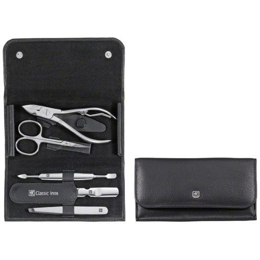 Zwilling 97437-004 Snap fastener case, neat's leather, black, 5 pcs.