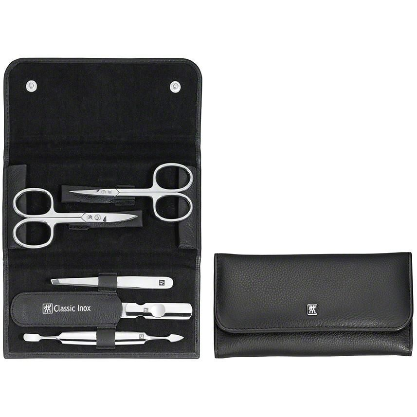 Zwilling 97458-004 Snap fastener case, neat's leather, black, 5 pcs.
