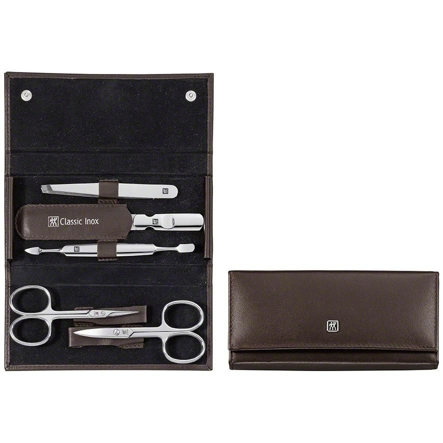 Zwilling 97436-006 Snap fastener case, neat's leather, brown, 5 pcs.