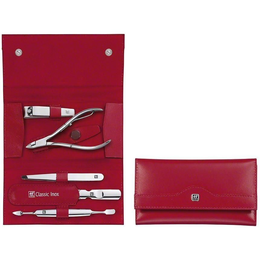 Zwilling 97437-003 Snap fastener case, neat's leather, red, 5 pcs.